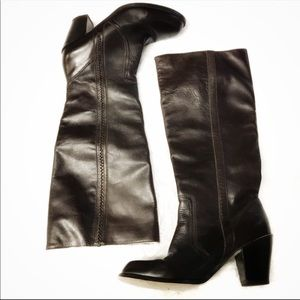 Michael Kors dark brown leather heel boots 7.5M